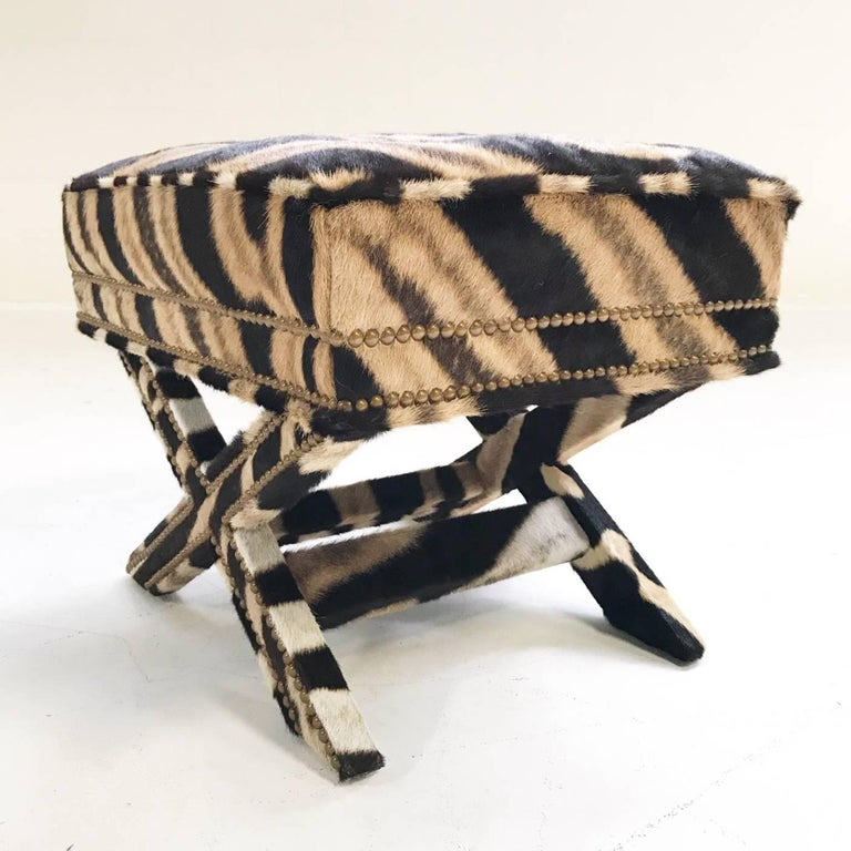 20th Century Vintage Billy Baldwin Style X Bench Ottoman Reupholstered in Zebra Hide For Sale