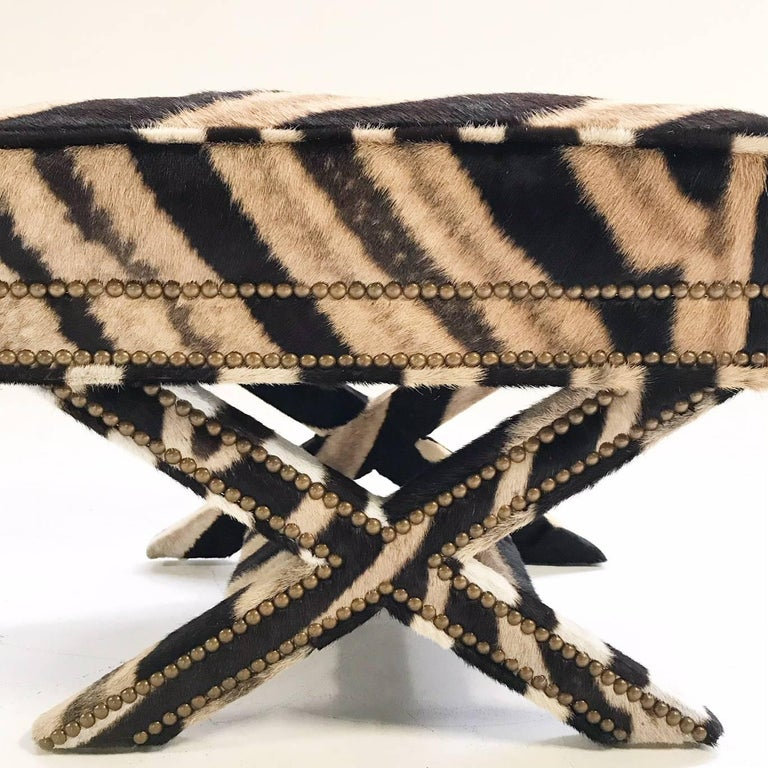 Vintage Billy Baldwin Style X Bench Ottoman Reupholstered in Zebra Hide For Sale 2