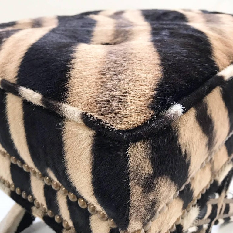 Vintage Billy Baldwin Style X Bench Ottoman Reupholstered in Zebra Hide For Sale 3
