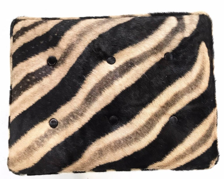 Vintage Billy Baldwin Style X Bench Ottoman Reupholstered in Zebra Hide For Sale 1