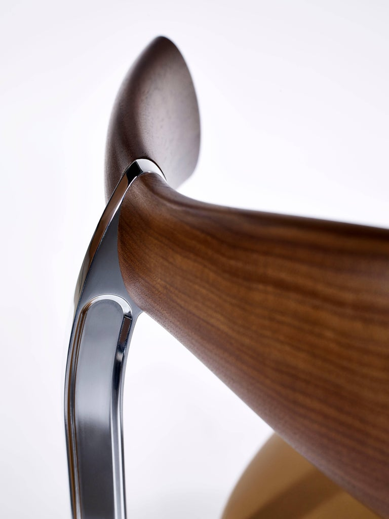 British Contemporary Rifle Chair in Walnut and Brushed Brass and Polished Aluminum For Sale