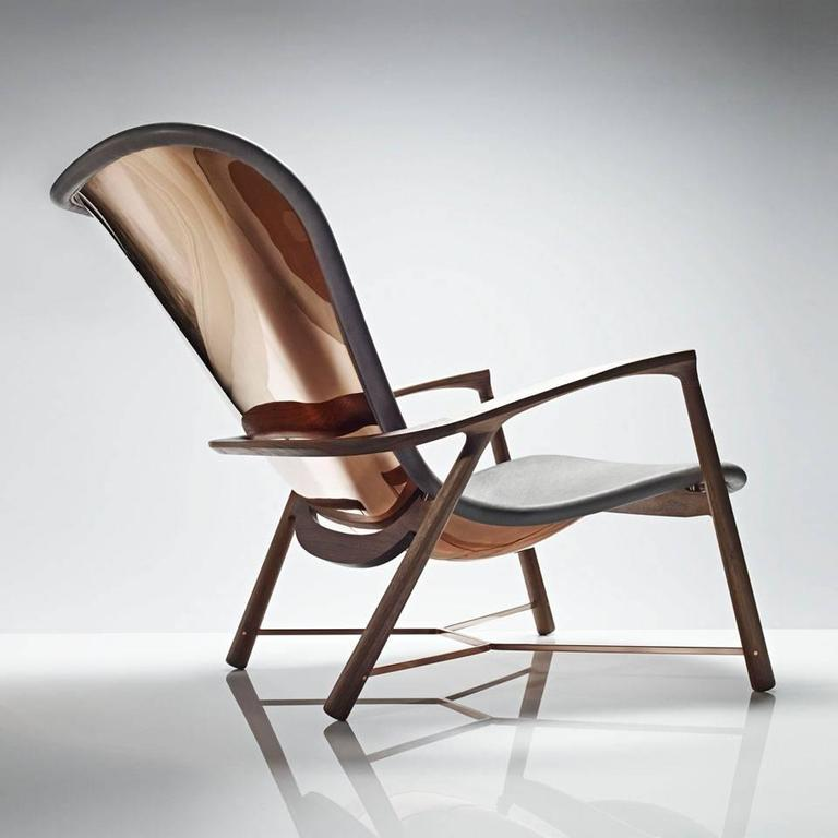 Winner of Design et al International Product Design Awards 2015.  Organic and functional, the Silhouette chair is strikingly crafted from a single copper panel which has been hand rolled and hammered. This age-old technique used by coachbuilders