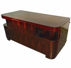 Decoene Freres, Art Deco Desk in Macassar Ebony