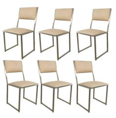 Guy Lefevre, Set of Six Chairs in Steel