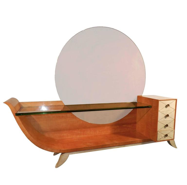 Very Large Art Deco Vanity In Blond Mahogany Parchemine And Mirror For