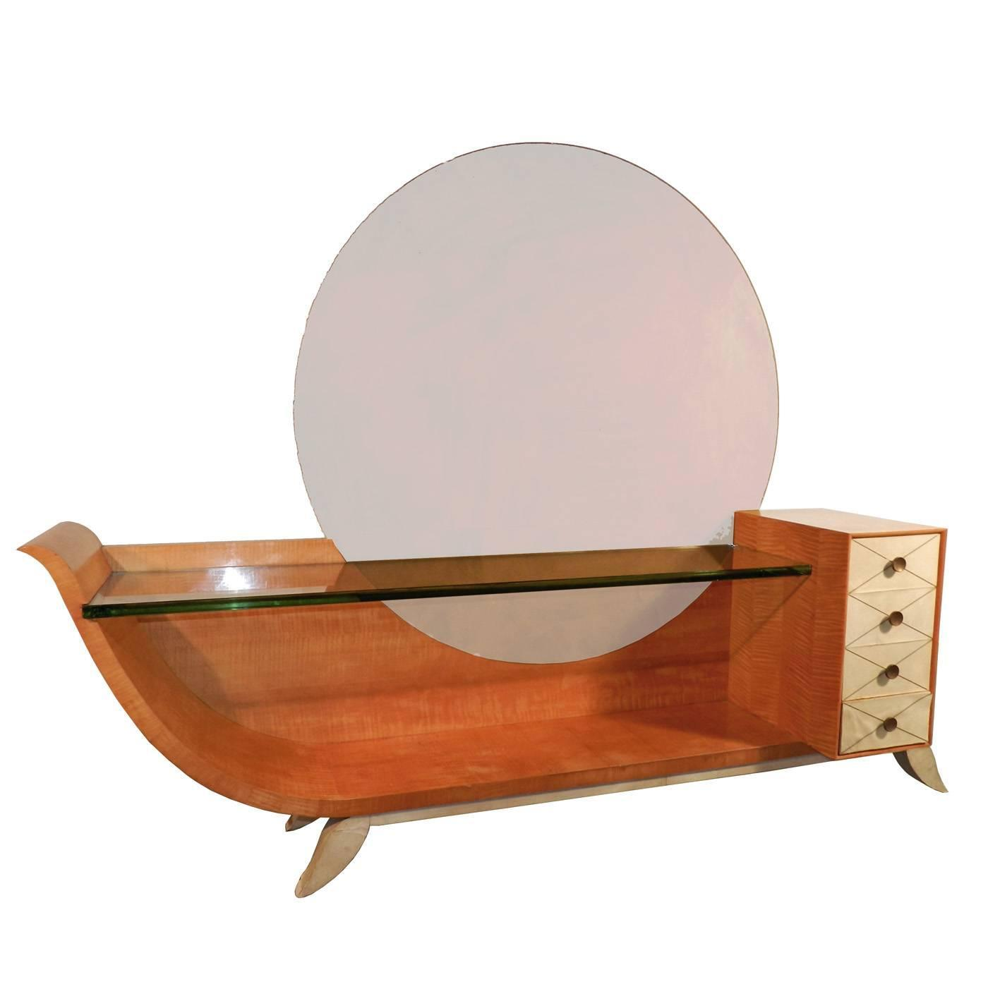 Very large art deco vanity in blond mahogany parchemine for Vanity table and mirror for sale
