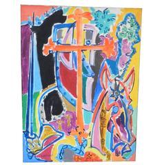 """Charles Lapicque """"Le Templier"""" 1950, Oil on Canvas"""
