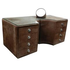 Suede and Chrome Vanity Dressing Table by Guido Faleschini