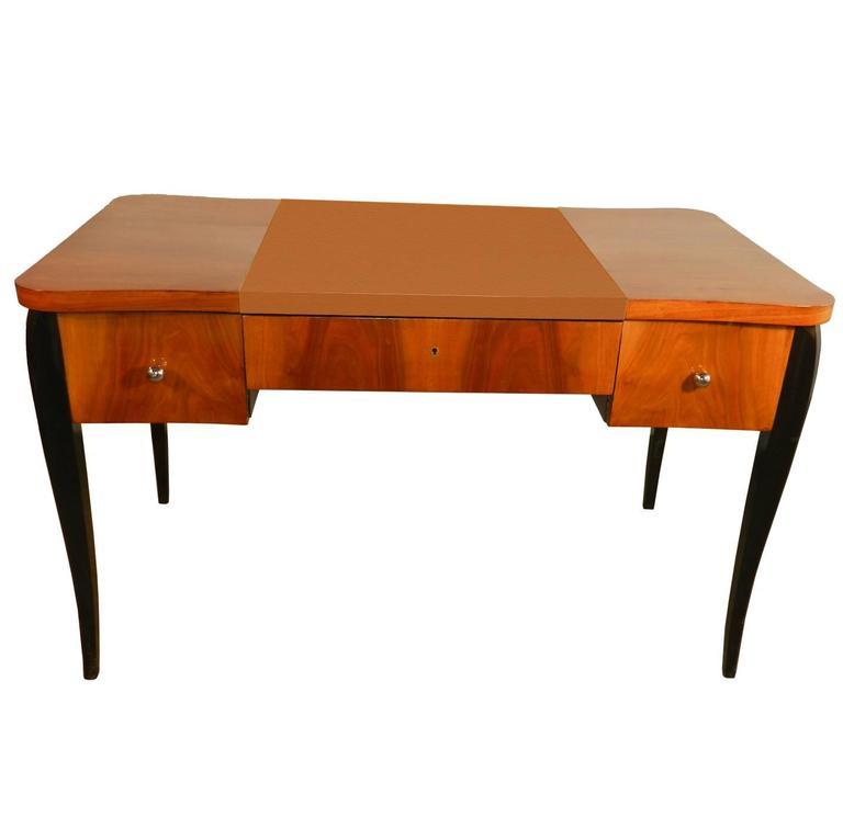 Art Deco Desk in Walnut Veneer and Blackened Wood