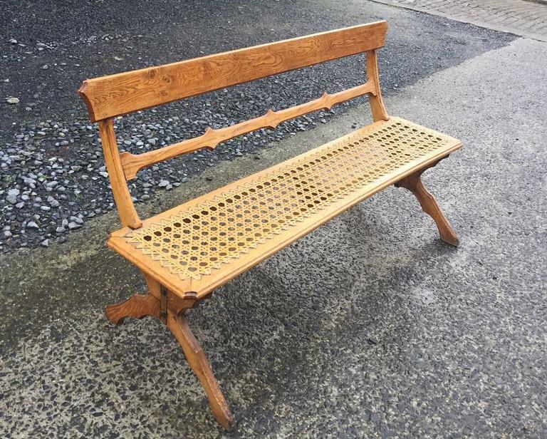 Art Nouveau oak bench, circa 1900.