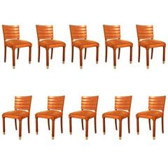 Gaston Poisson, Set of Ten Art Deco Chairs in Oak and Brass