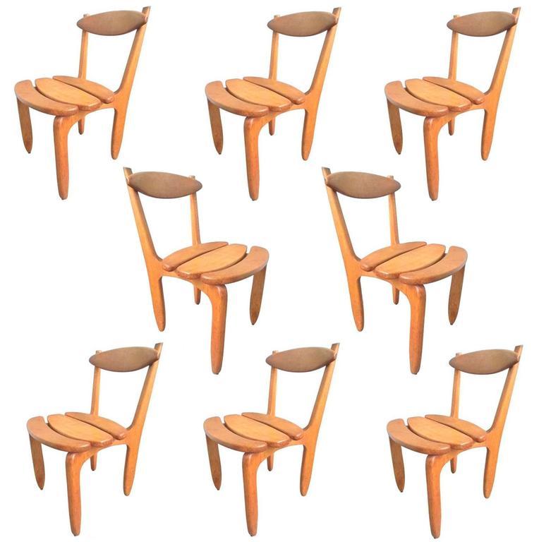 """Guillerme et Chambron, Set of Eight Oak Chairs """"Thierry"""", Edition Votre Maison"""