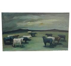 "Paul Georges Klein, ""Taureaux"" Oil on Canvas Signed P.Klein"