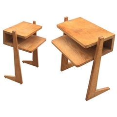 Guillerme et Chambron, Pair of 1960 Oak Nightstands, Edition Votre Maison