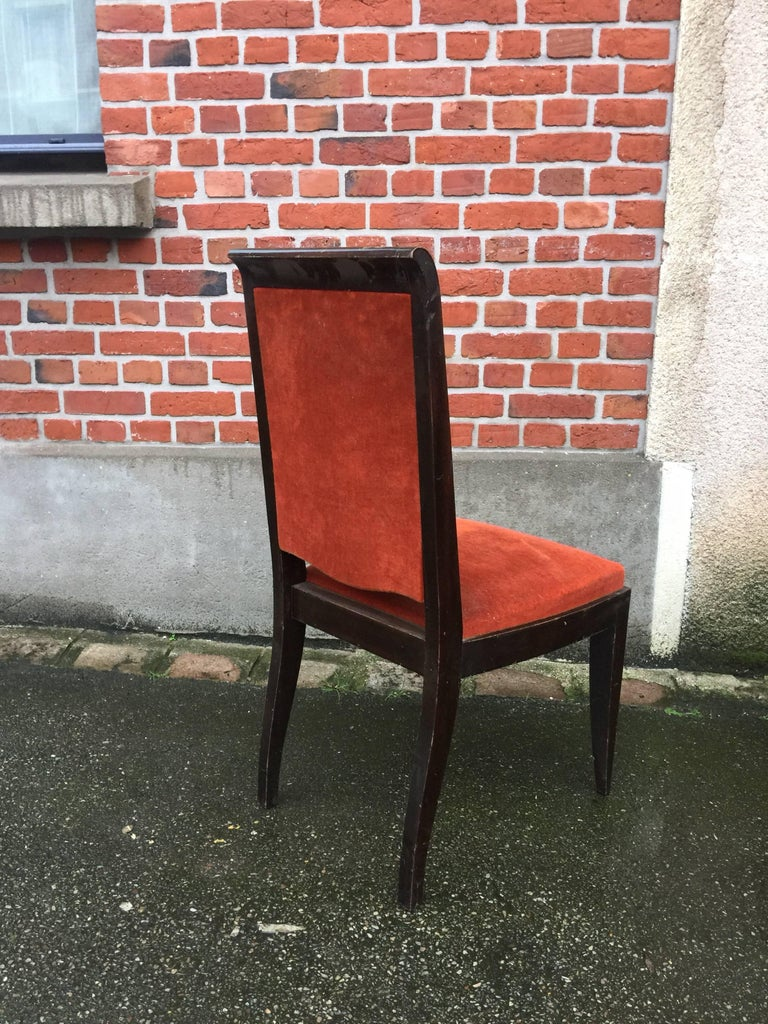 Six Gaston Poisson French Art Deco dining chairs.
