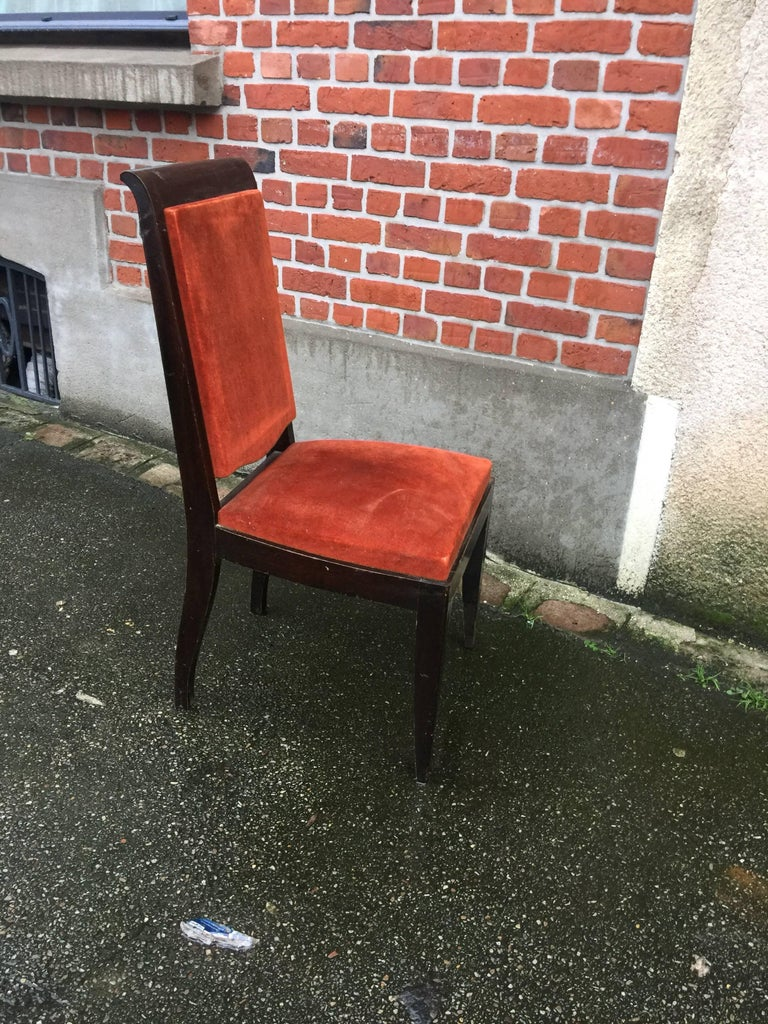 Six Gaston Poisson French Art Deco Dining Chairs In Excellent Condition For Sale In Saint-Ouen, FR