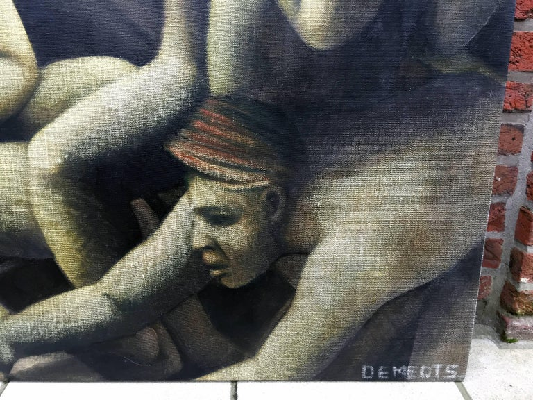 Paint Michèle Demedts, Large Oil on Canvas Signed Demedts, circa 1990 For Sale