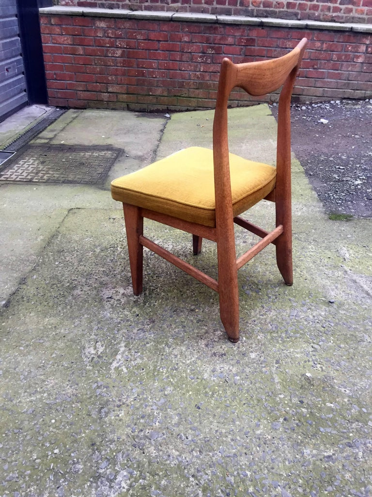 French Guillerme et Chambron Set of 12 Oak Dining Chairs, circa 1965 For Sale