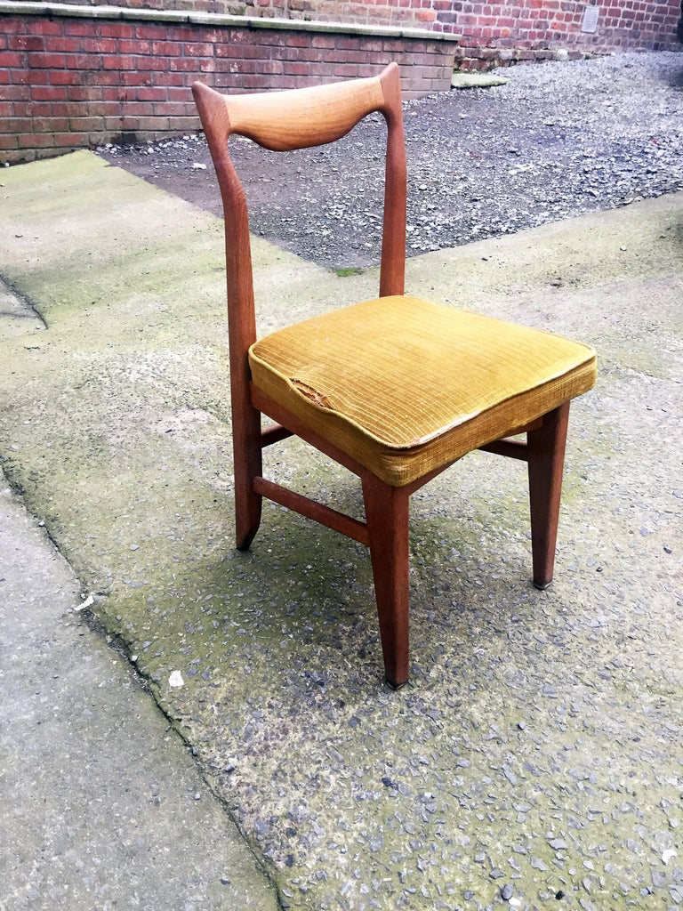 Mid-Century Modern Guillerme et Chambron Set of 12 Oak Dining Chairs, circa 1965 For Sale