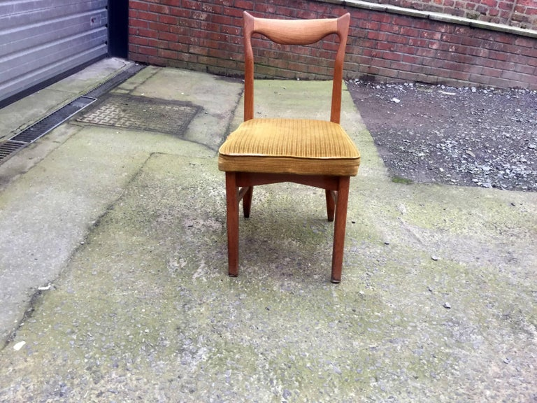 Guillerme et Chambron Set of 12 Oak Dining Chairs, circa 1965 For Sale 2