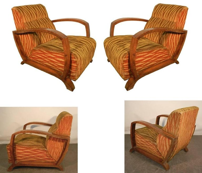 Pair of Art Deco armchairs circa 1930 Original fabric Need a new upholstery