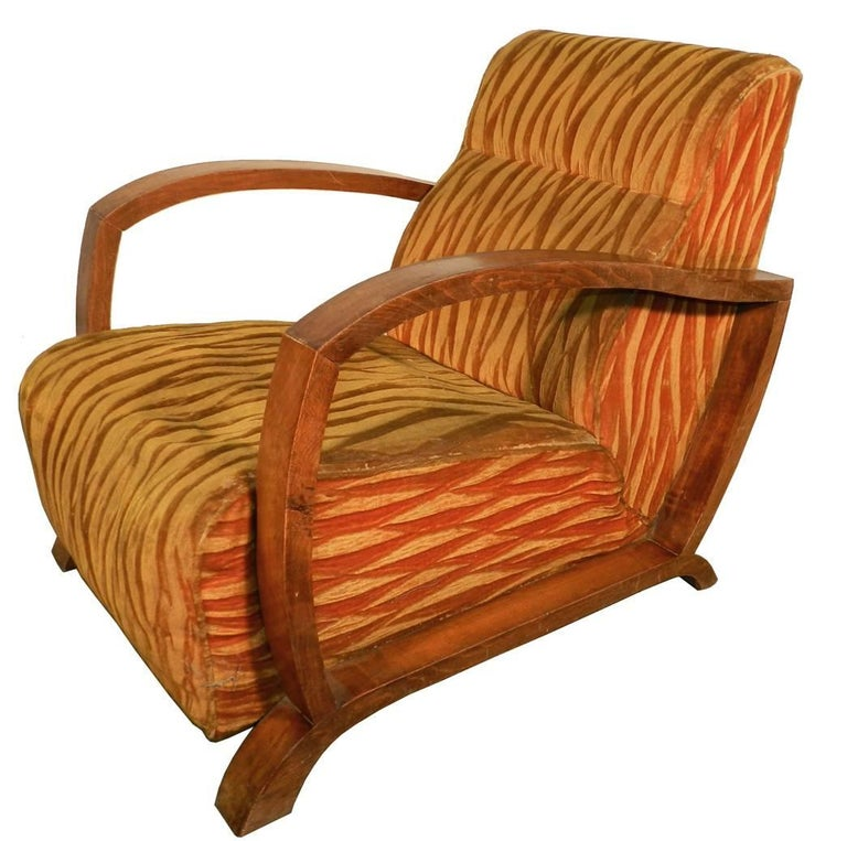 French Pair of Art Deco Armchairs, circa 1930 For Sale