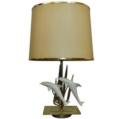Table Lamp with Dolphins Design, circa 1970