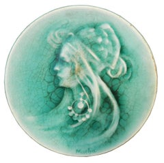 "Mucha, Small Ceramic Dish, Art Nouveau Era, Signed ""MUCHA"""