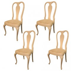 Rocco Turzi Decoration, Four Queen Ann Style Chairs in Lacquered Wood circa 1970