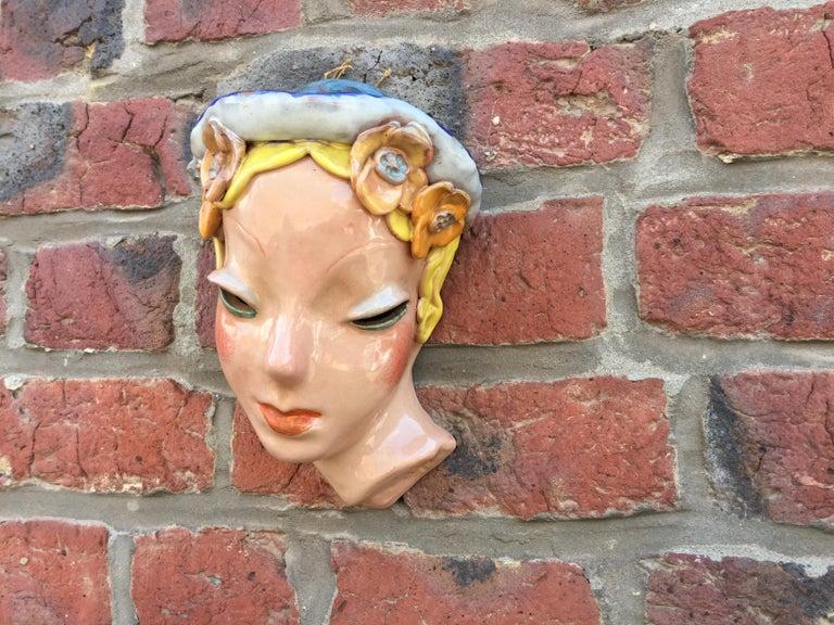 European Goldscheider Inspired Czech Signed Ceramic Stylized Art Deco Head For Sale