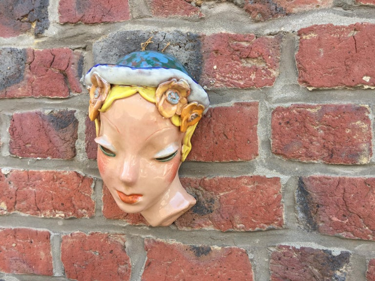 Mid-20th Century Goldscheider Inspired Czech Signed Ceramic Stylized Art Deco Head For Sale