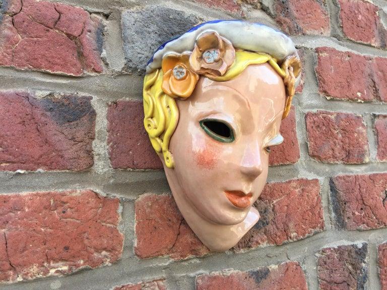 Goldscheider inspired Czech signed ceramic stylized Art Deco head.