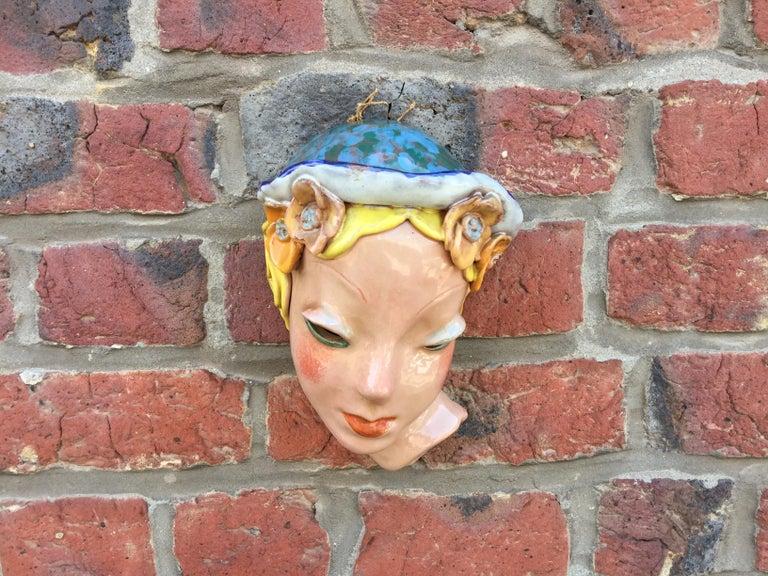 Goldscheider Inspired Czech Signed Ceramic Stylized Art Deco Head For Sale 1