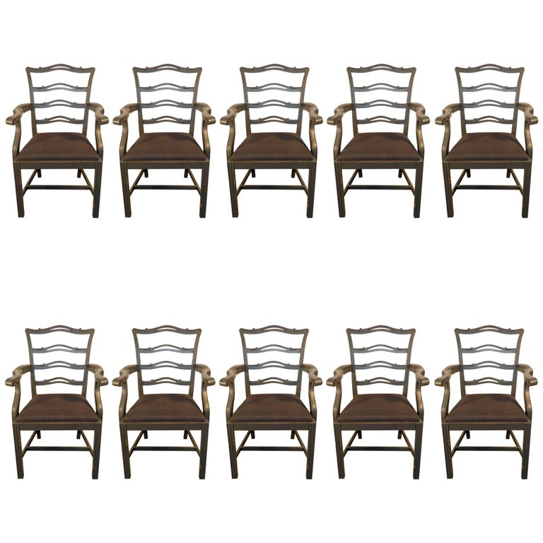 Ten Lacquered Wood Grey/Blue Armchairs