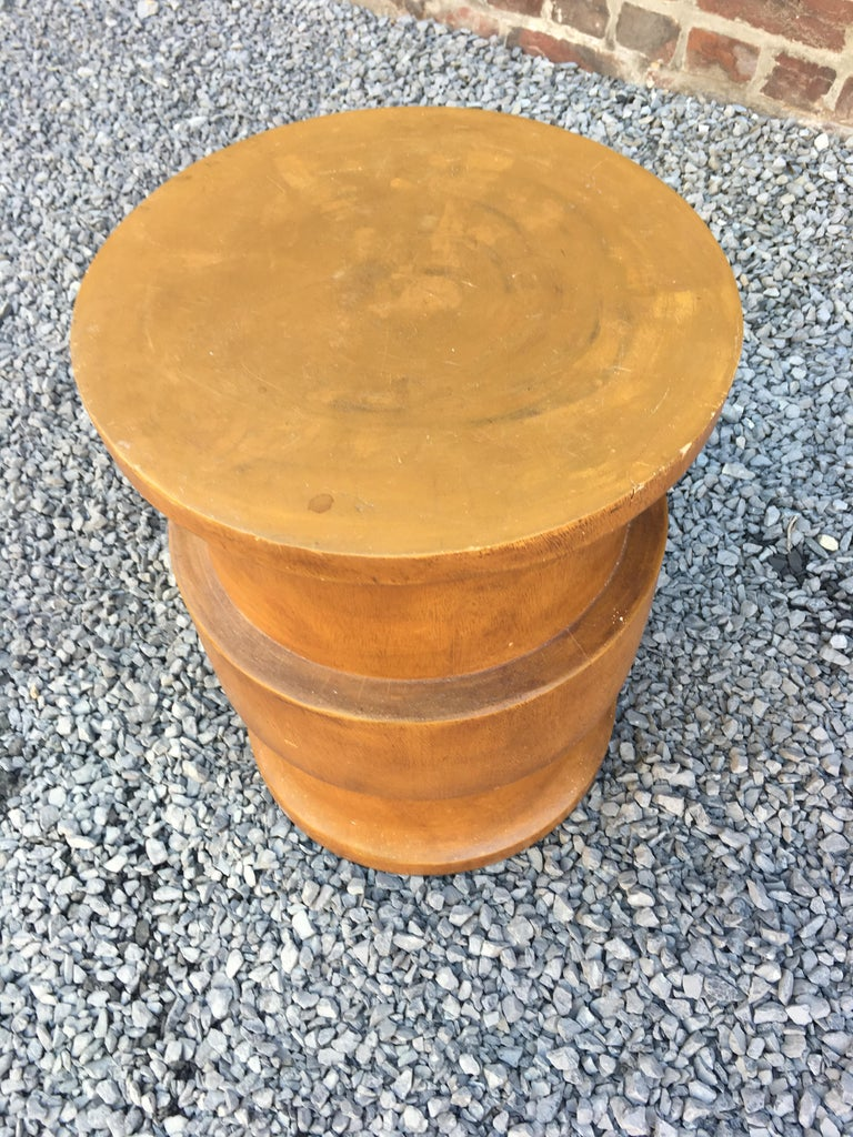 Stool or side table, modernist in solid wood, circa 1960.