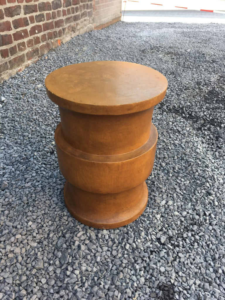 Art Deco Stool or Side Table, Modernist in Solid Wood, circa 1960 For Sale