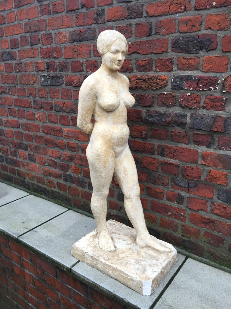 French High Art Deco Plaster Statue, circa 1930-1950 For Sale
