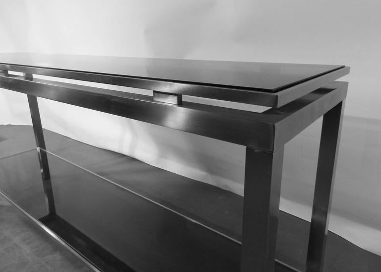 French Guy Lefevre Large Console in Brushed Steel, with Tinted Glass, Maison Jansen For Sale