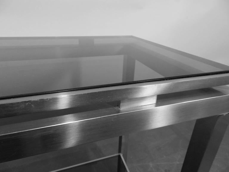 Guy Lefevre Large Console in Brushed Steel, with Tinted Glass, Maison Jansen In Excellent Condition For Sale In Saint-Ouen, FR