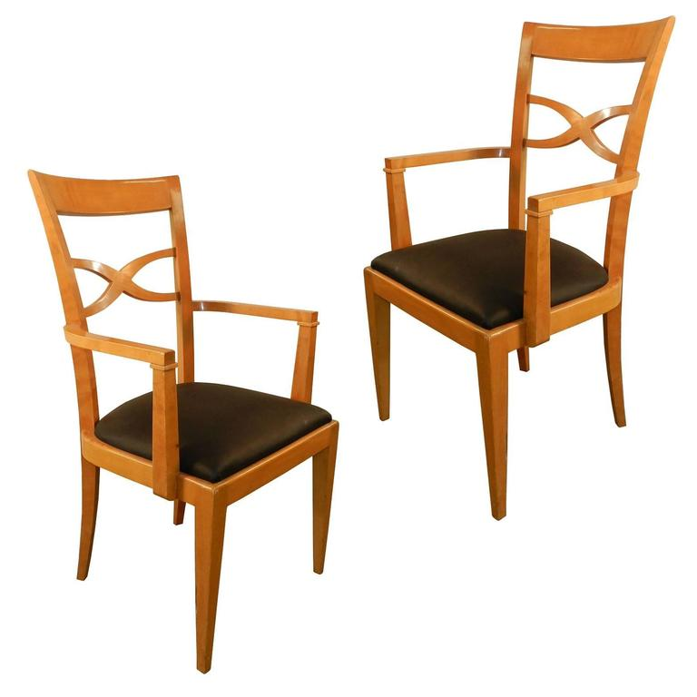 Set of Two Armchairs and Eight Chairs in Art Deco Neoclassical Style 2
