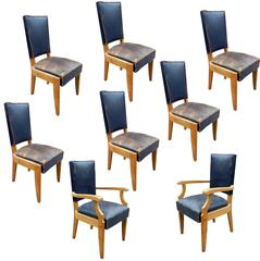 Charles Dudouyt, Set of Six Chairs and Two Armchairs in Oak and Leather