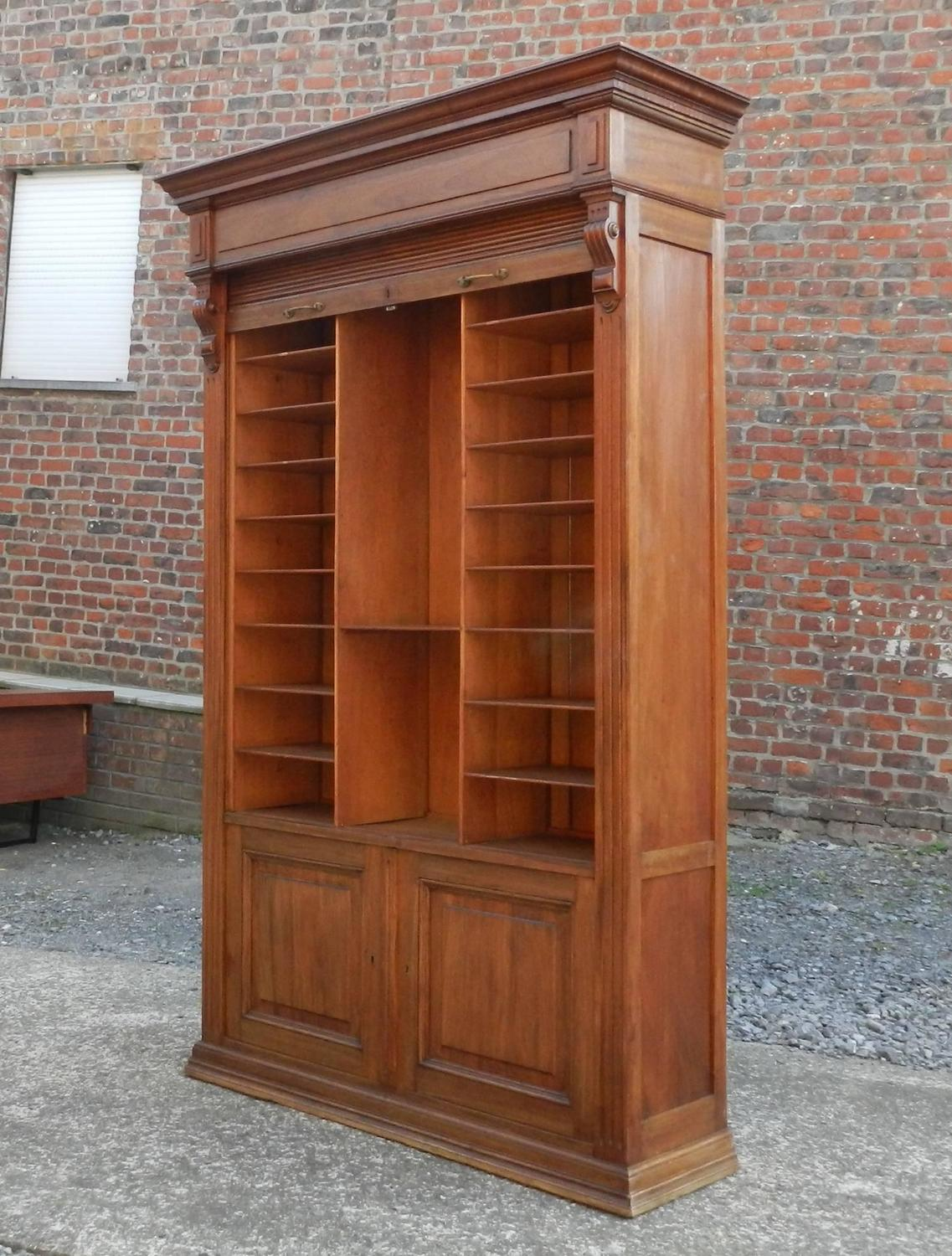 Louvered Door Cabinet In Mahogany And Solid Oak Circa