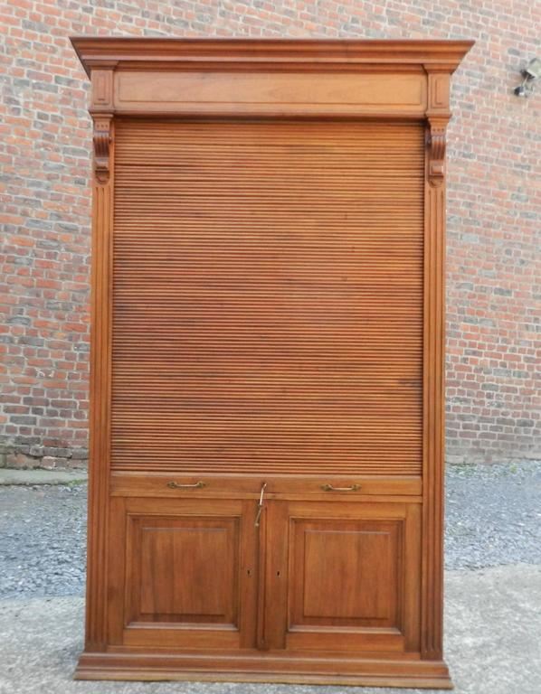 Louvered Door Cabinet In Mahogany And Solid Oak Circa 1900 For Sale At 1stdibs