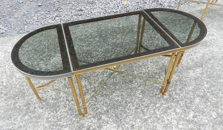Mid-Century Modern Maison Baguès, 1950 Adjustable Coffee Table in Brass, Tinted Glass and Mirror For Sale