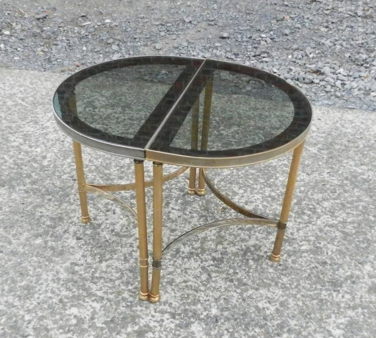 French Maison Baguès, 1950 Adjustable Coffee Table in Brass, Tinted Glass and Mirror For Sale