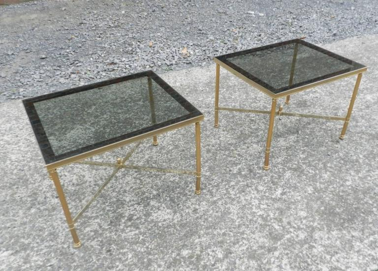 20th Century Maison Baguès, 1950 Adjustable Coffee Table in Brass, Tinted Glass and Mirror For Sale