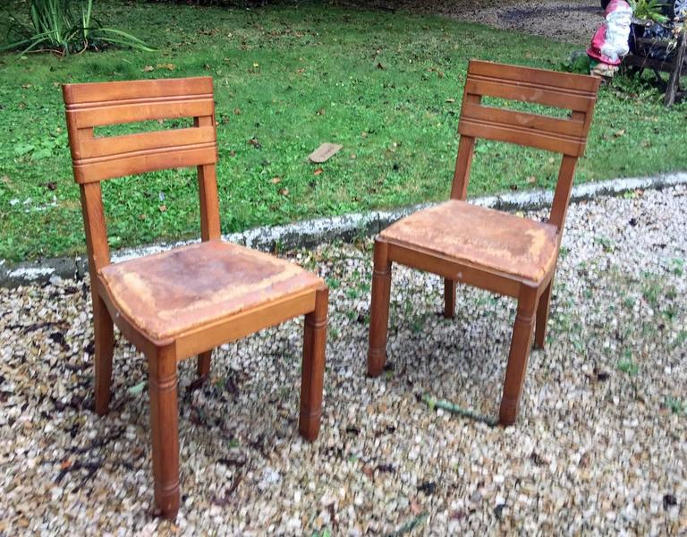 Mid-Century Modern Charles Dudouyt, Pair of Oak Chairs, circa 1940 For Sale