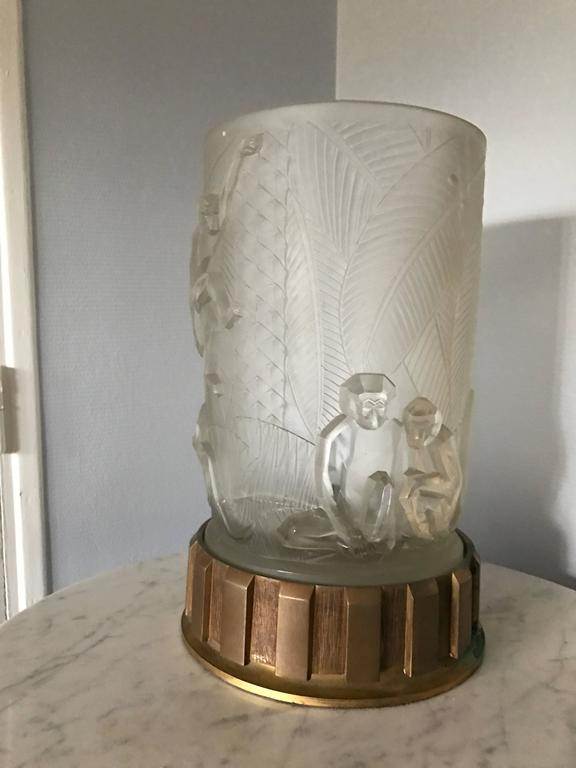 Art Deco table lamp glass and bronze base.