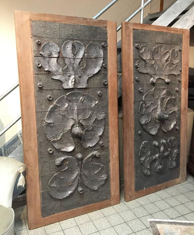 Modern Yves Rhaye, Exceptional Sliding Doors with Ceramic Design, circa 1970 For Sale