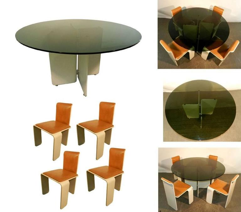Lacquered Set of Thermoformed Wood Dining Room, circa 1960, Prototype For Sale